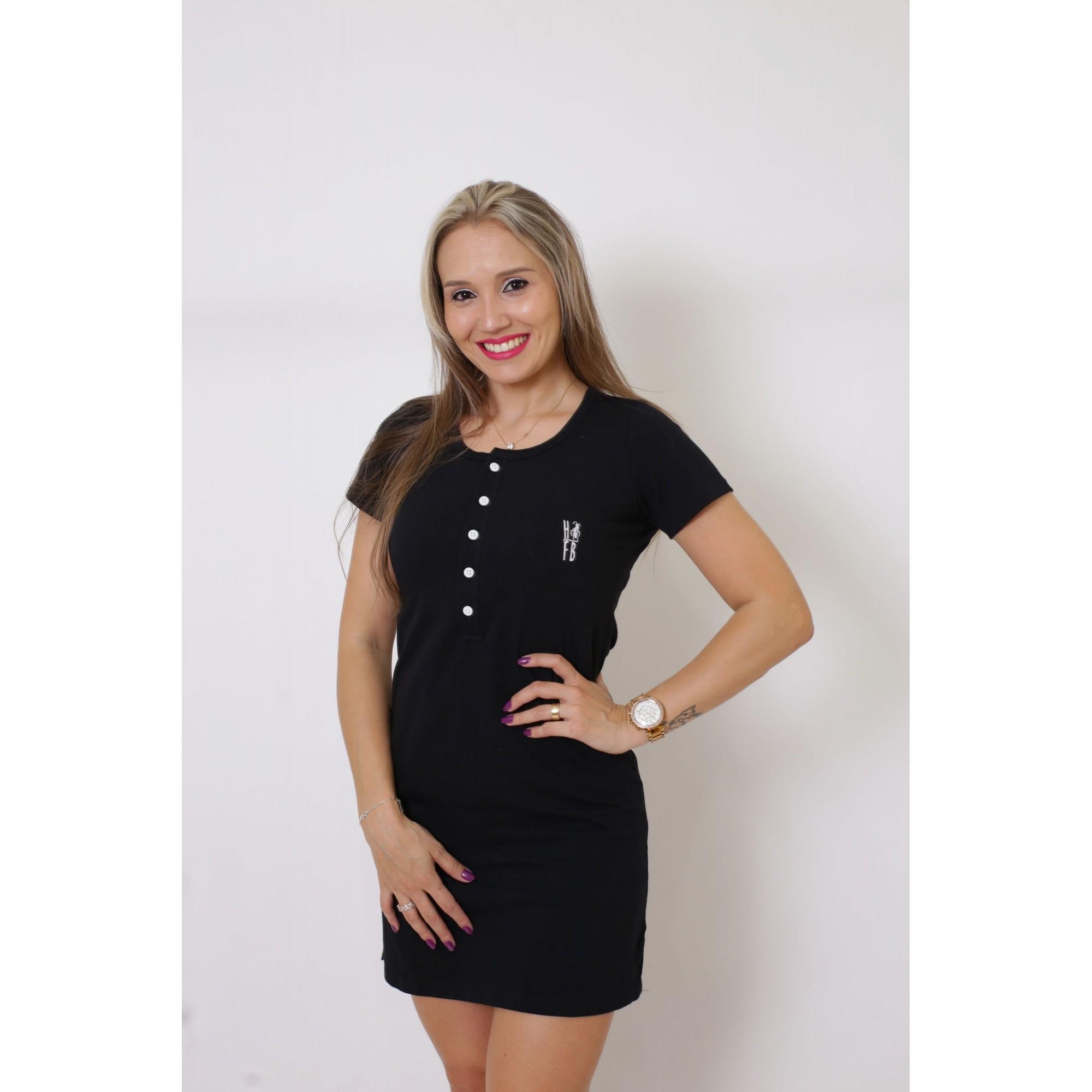 Vestido Henley Preto   - Heitor Fashion Brazil