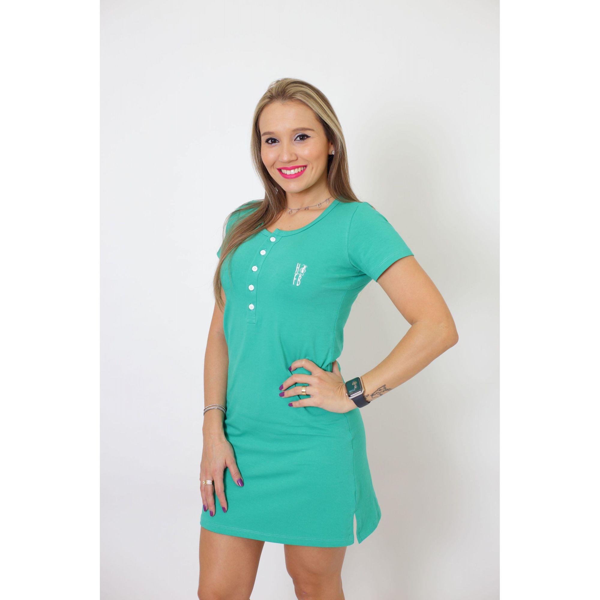 Vestido Henley Verde Jade