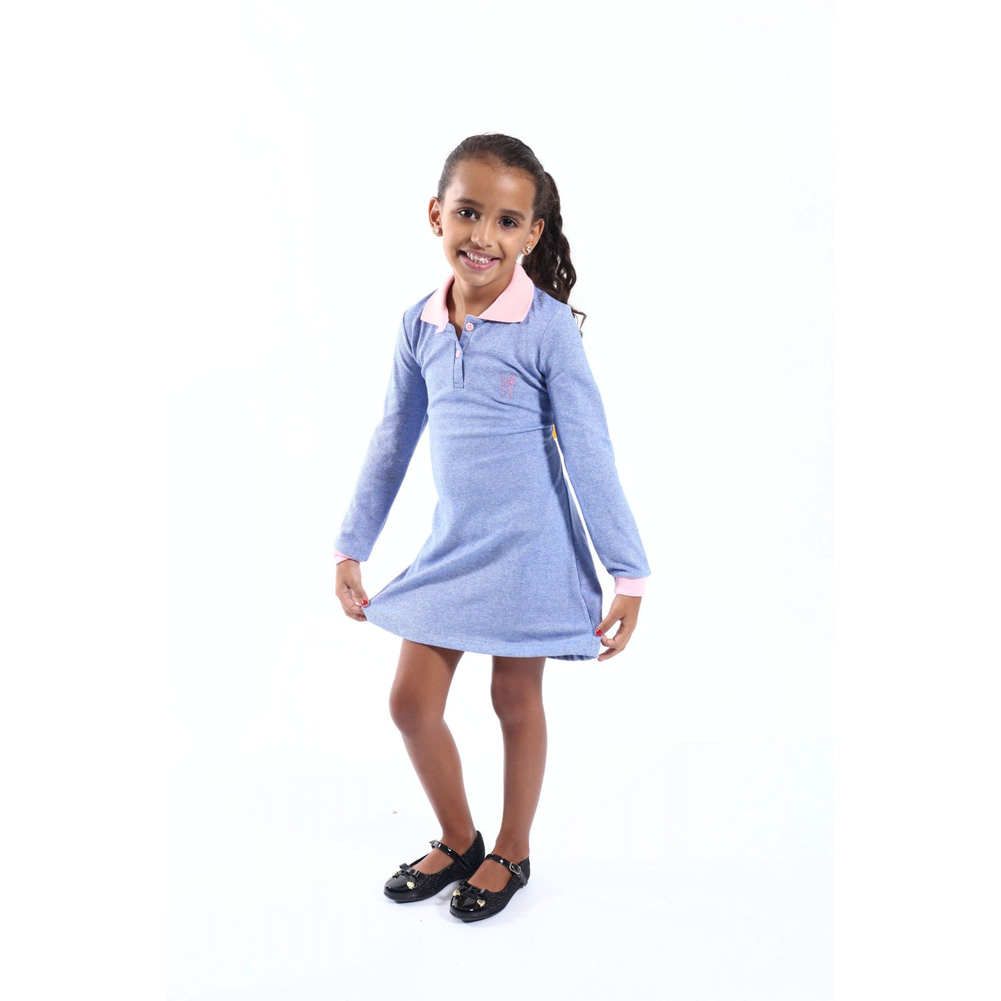 Vestido Infantil Manga Longa Azul  - Heitor Fashion Brazil