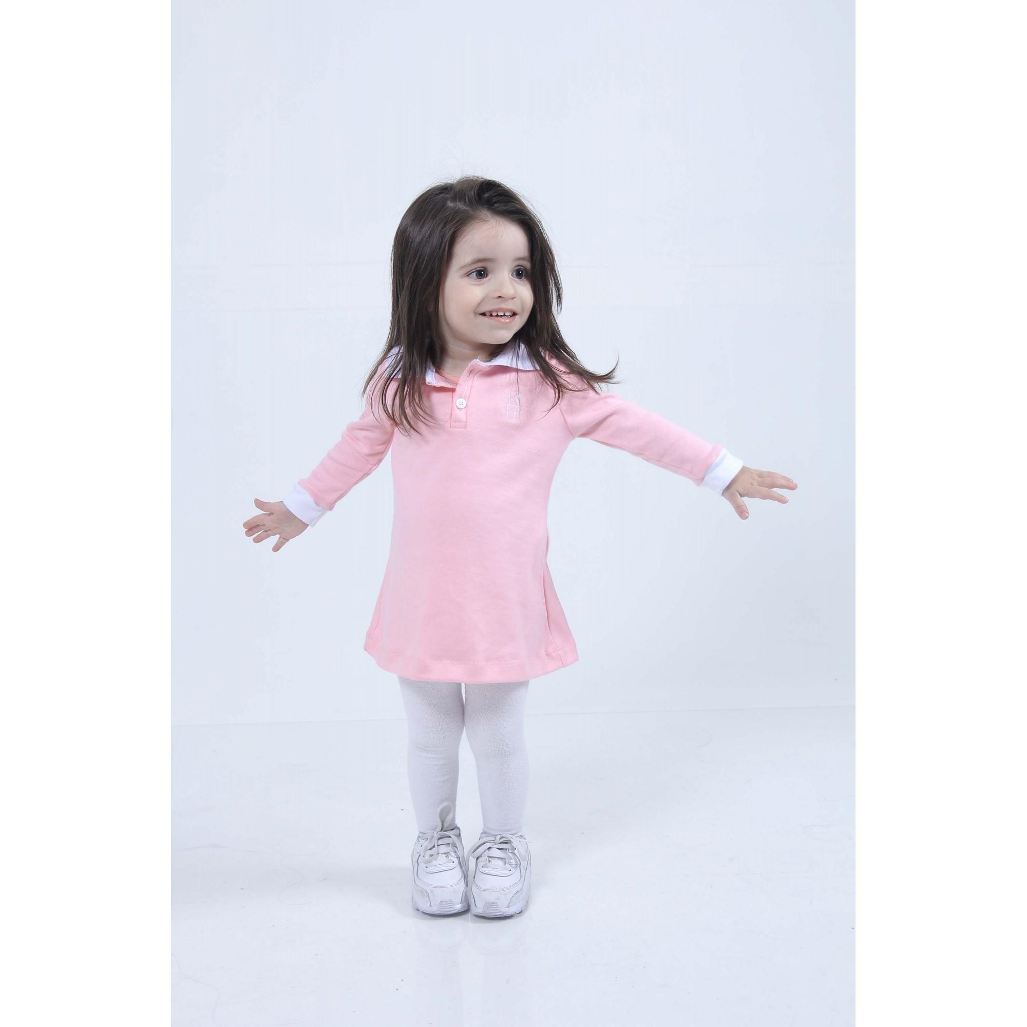 Vestido Infantil Manga Longa Rosa