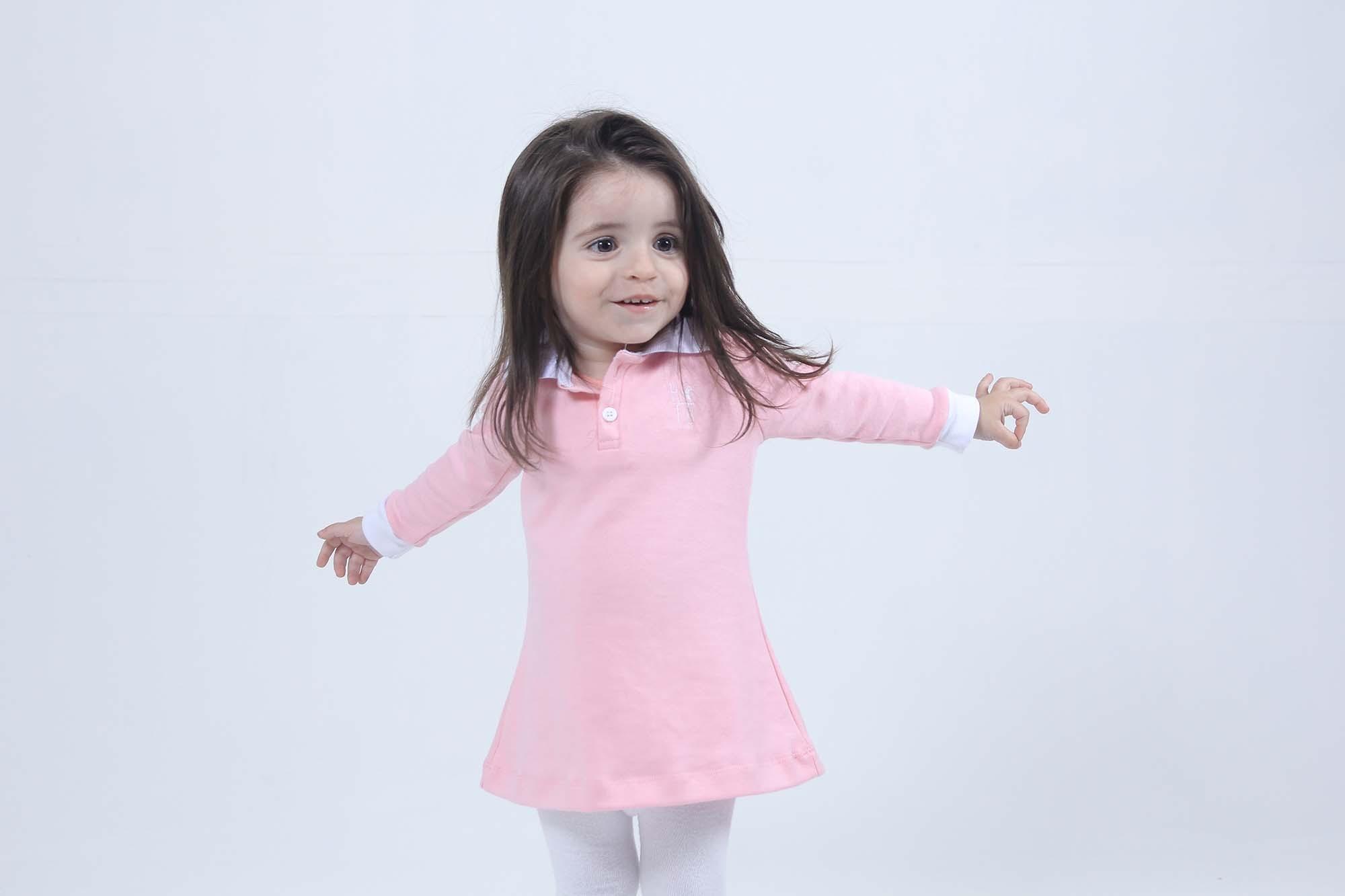 Vestido Infantil Manga Longa Rosa  - Heitor Fashion Brazil