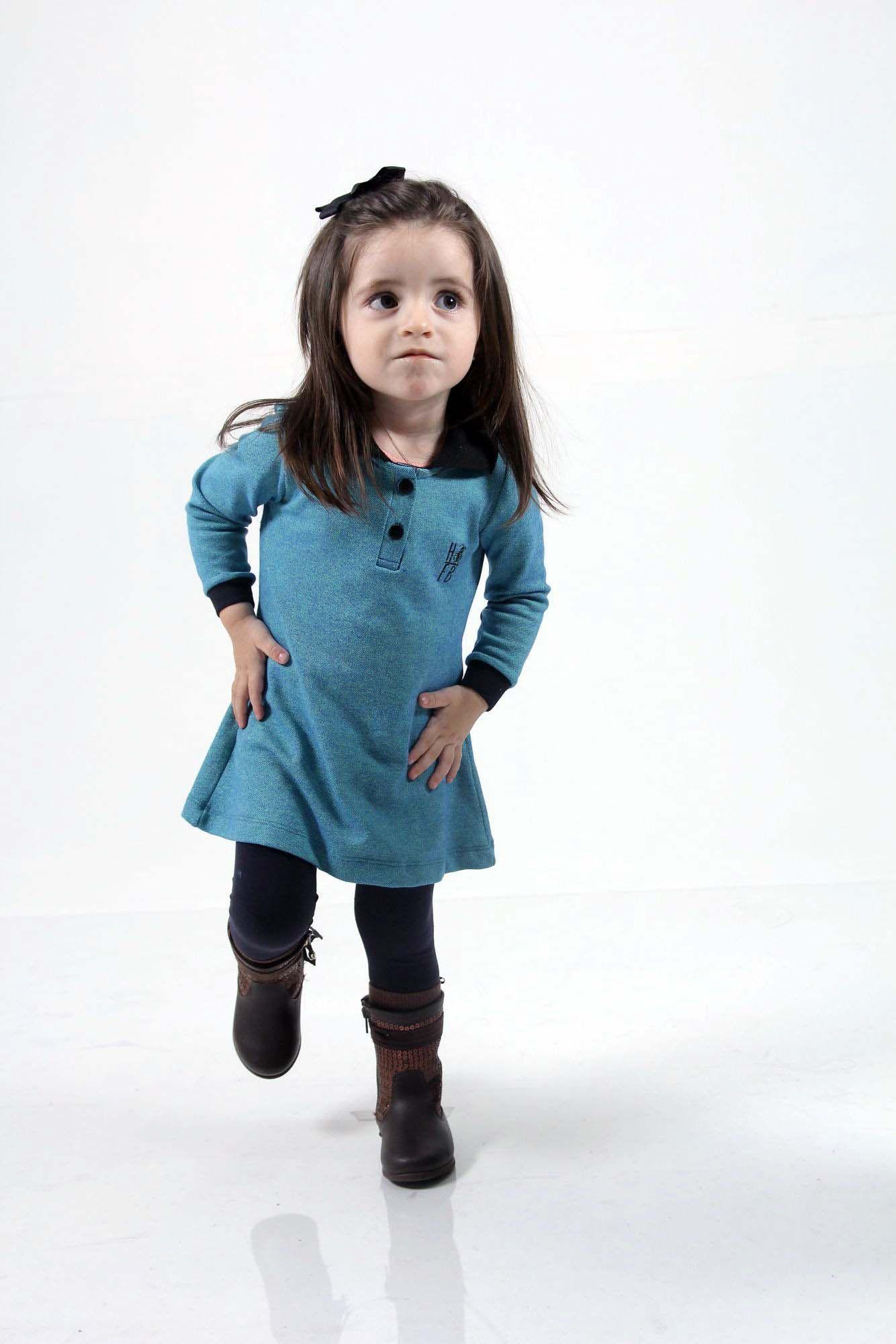 Vestido Infantil Manga Longa Verde