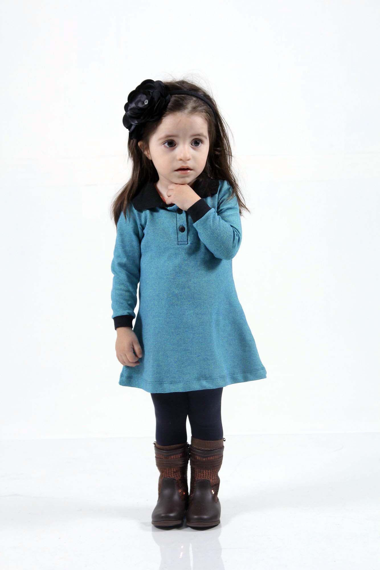 Vestido Infantil Manga Longa Verde  - Heitor Fashion Brazil