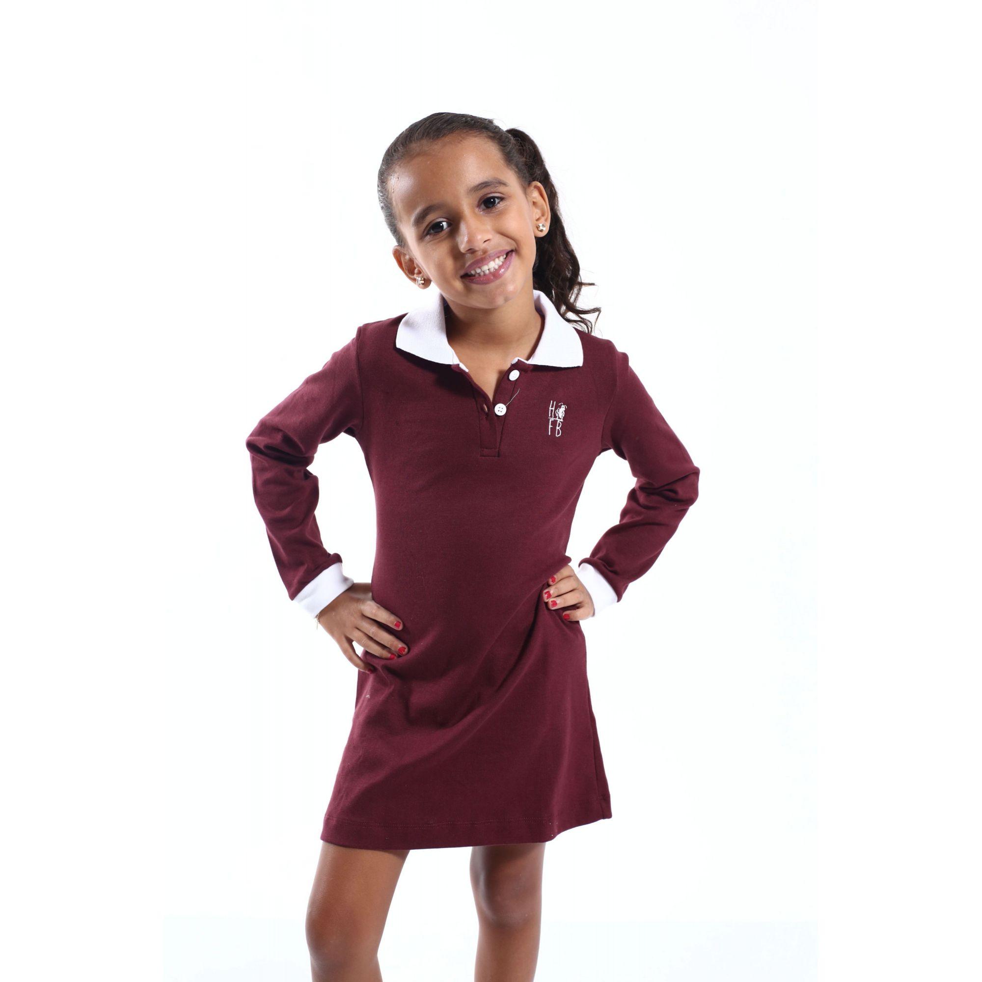 Vestido Infantil Manga Longa Vinho  - Heitor Fashion Brazil