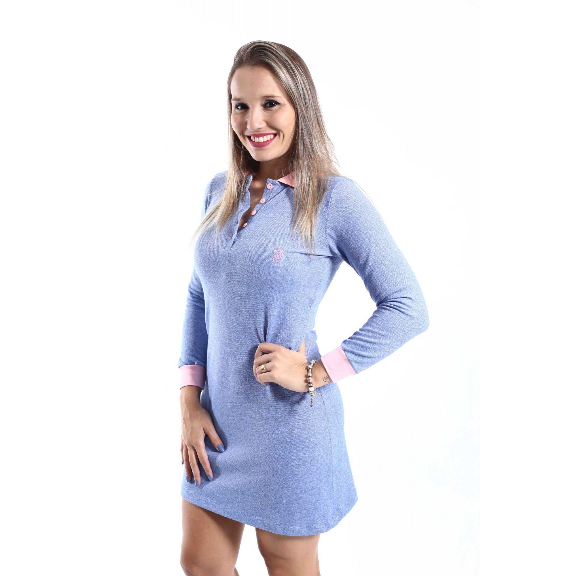 Vestido Manga Longa Azul  - Heitor Fashion Brazil