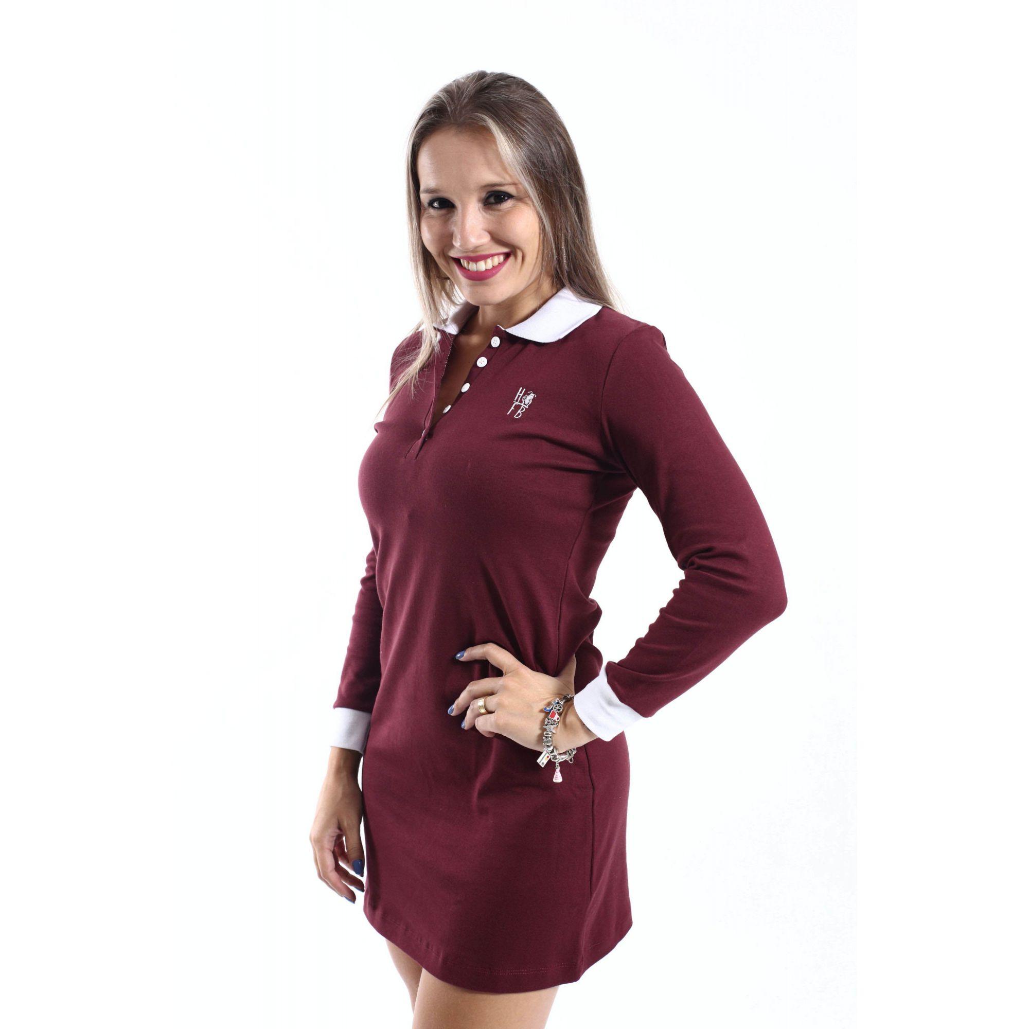 Vestido Manga Longa Vinho  - Heitor Fashion Brazil