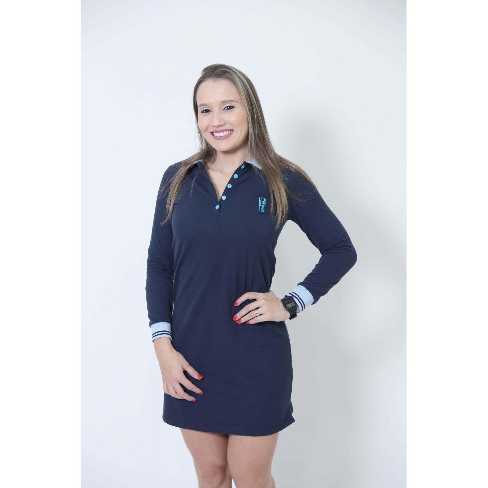 Vestido Polo Azul Manga Longa  - Heitor Fashion Brazil