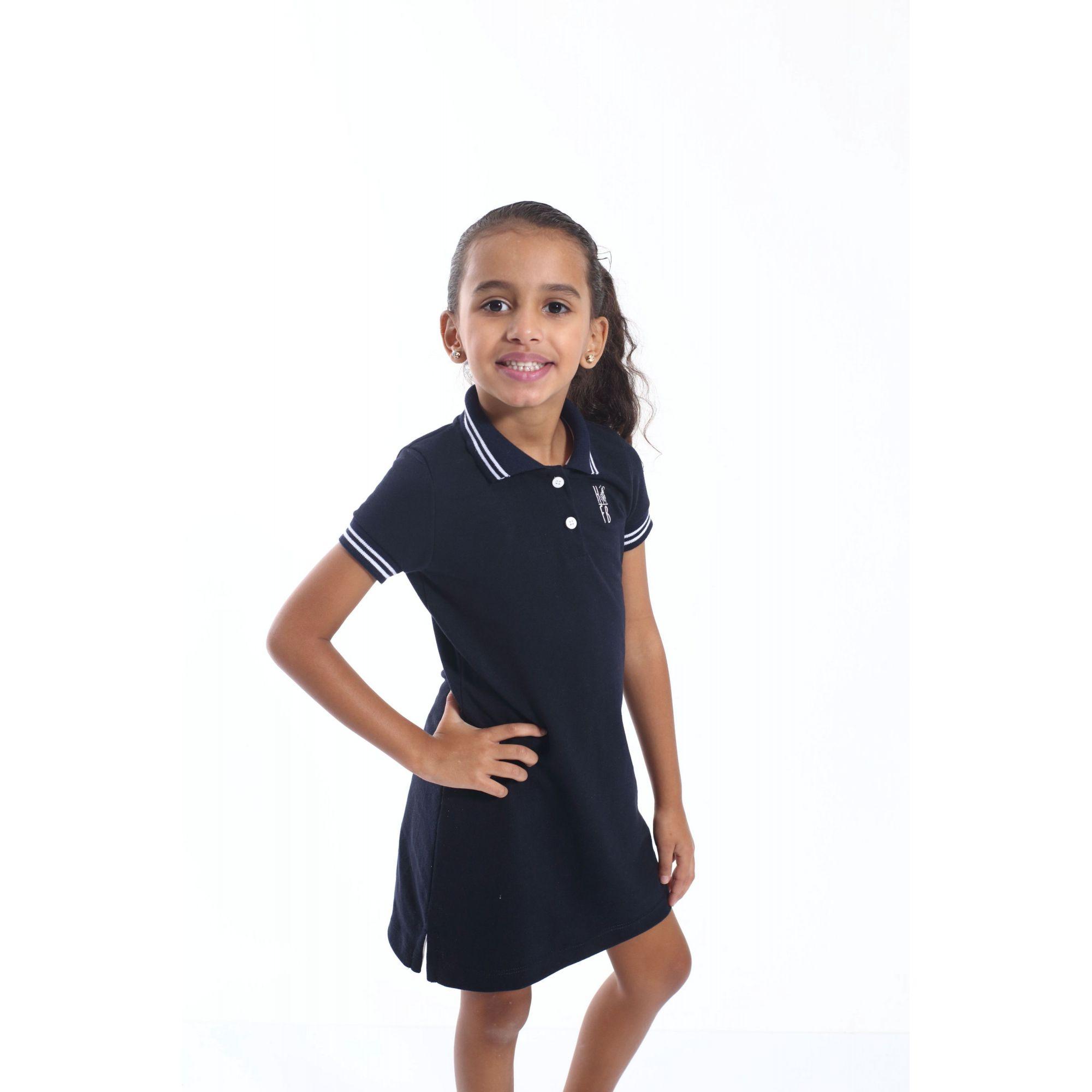 Vestido Polo Infantil Azul Marinho Céu