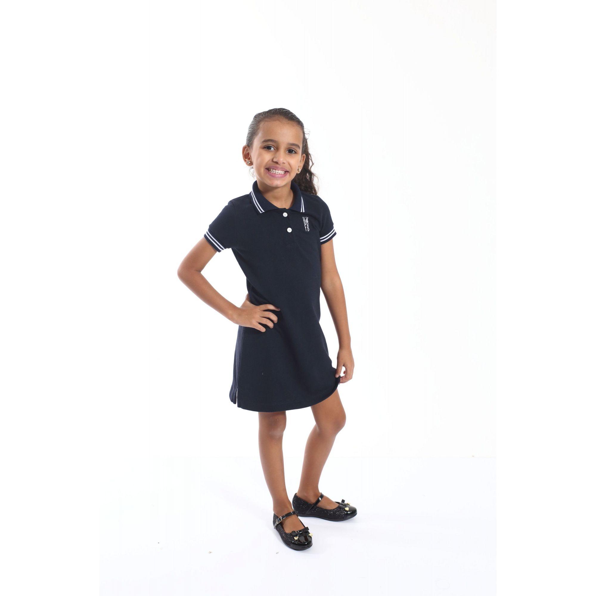 Vestido Polo Infantil Azul Marinho Céu  - Heitor Fashion Brazil