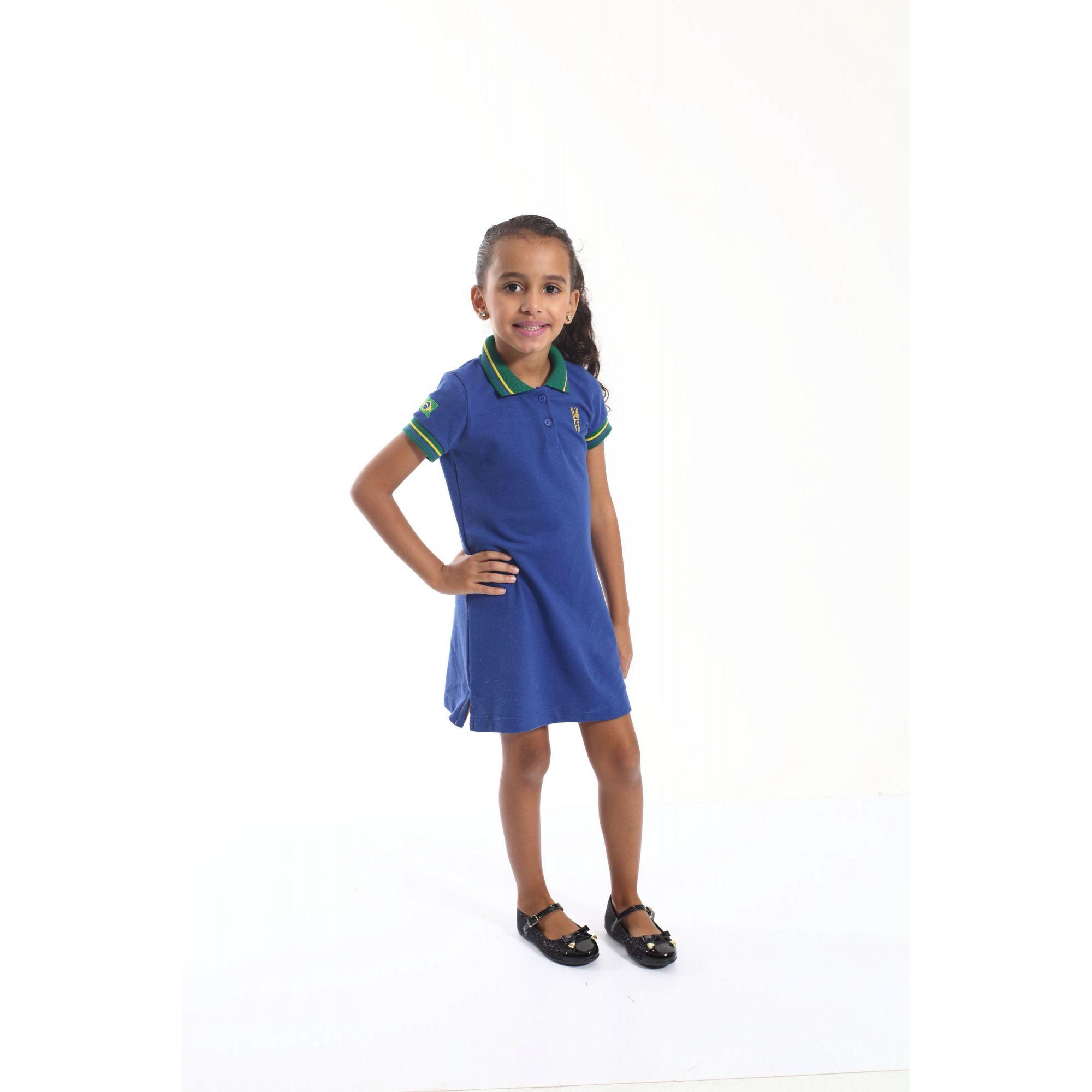 Vestido Polo Infantil Azul Royal