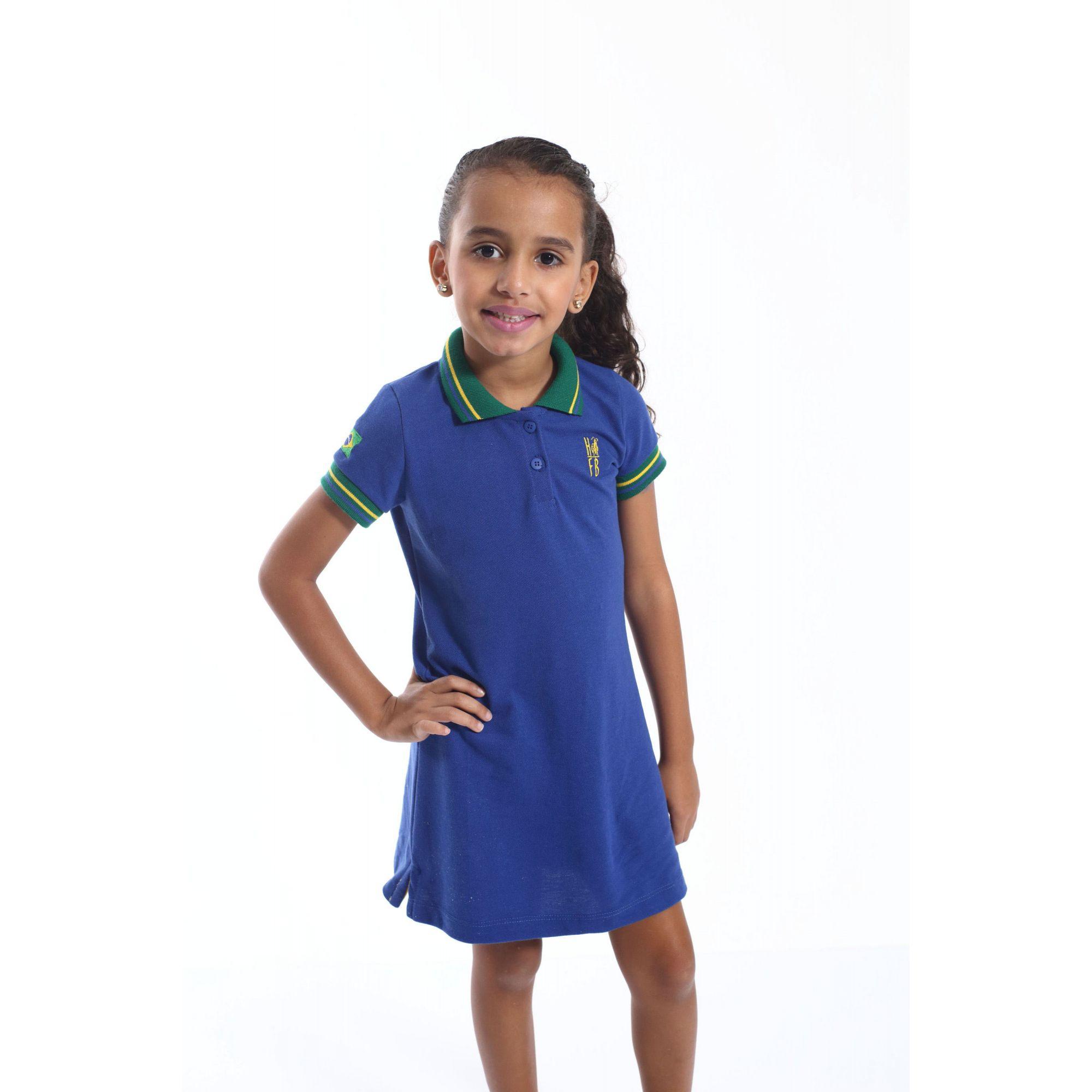 Vestido Polo Infantil Azul Royal  - Heitor Fashion Brazil