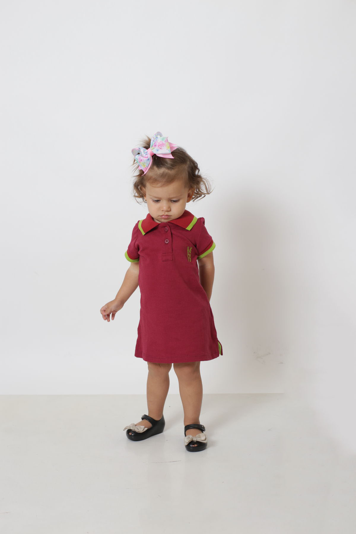Vestido Polo Infantil Bordo