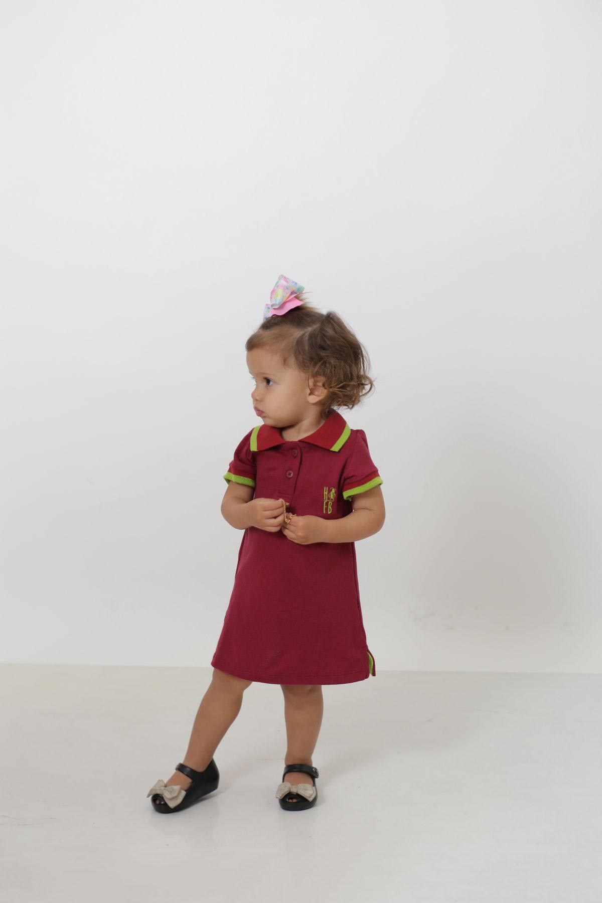 Vestido Polo Infantil Bordo  - Heitor Fashion Brazil
