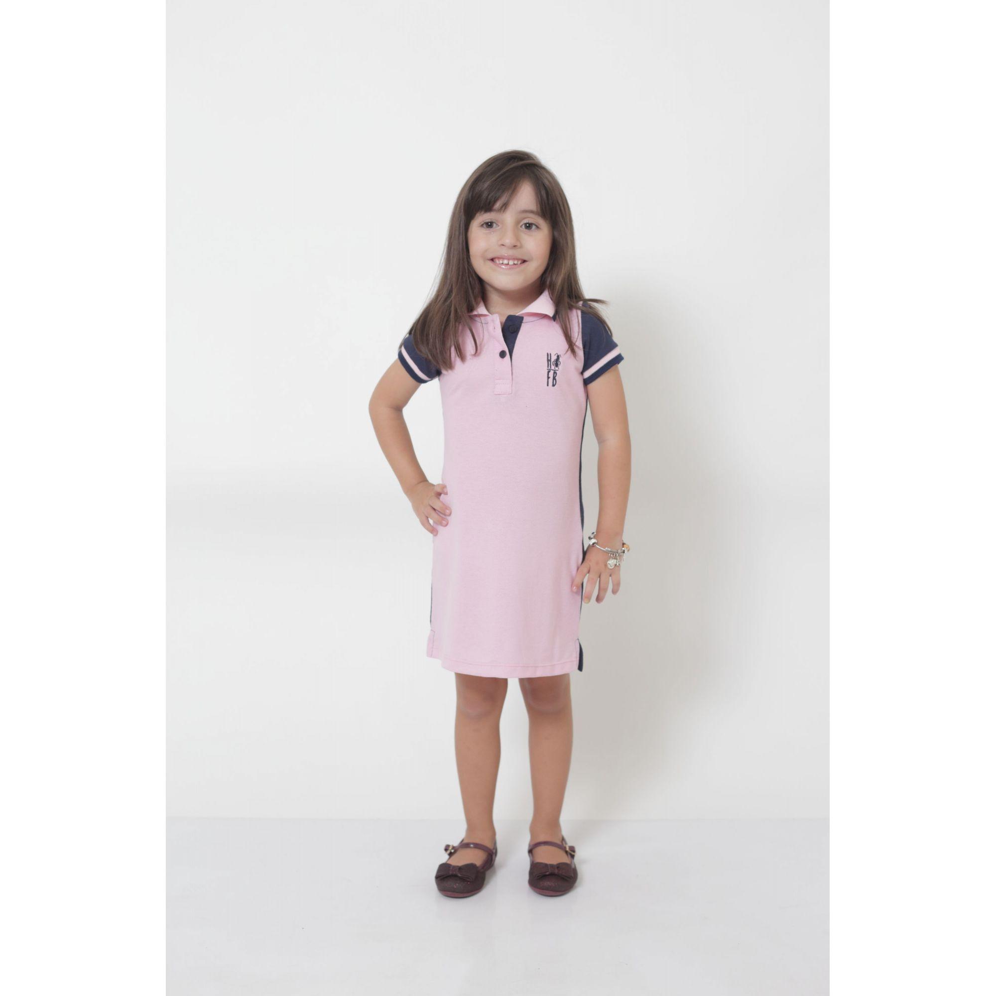 Vestido Polo Infantil Dual Cor Rosa e Marinho