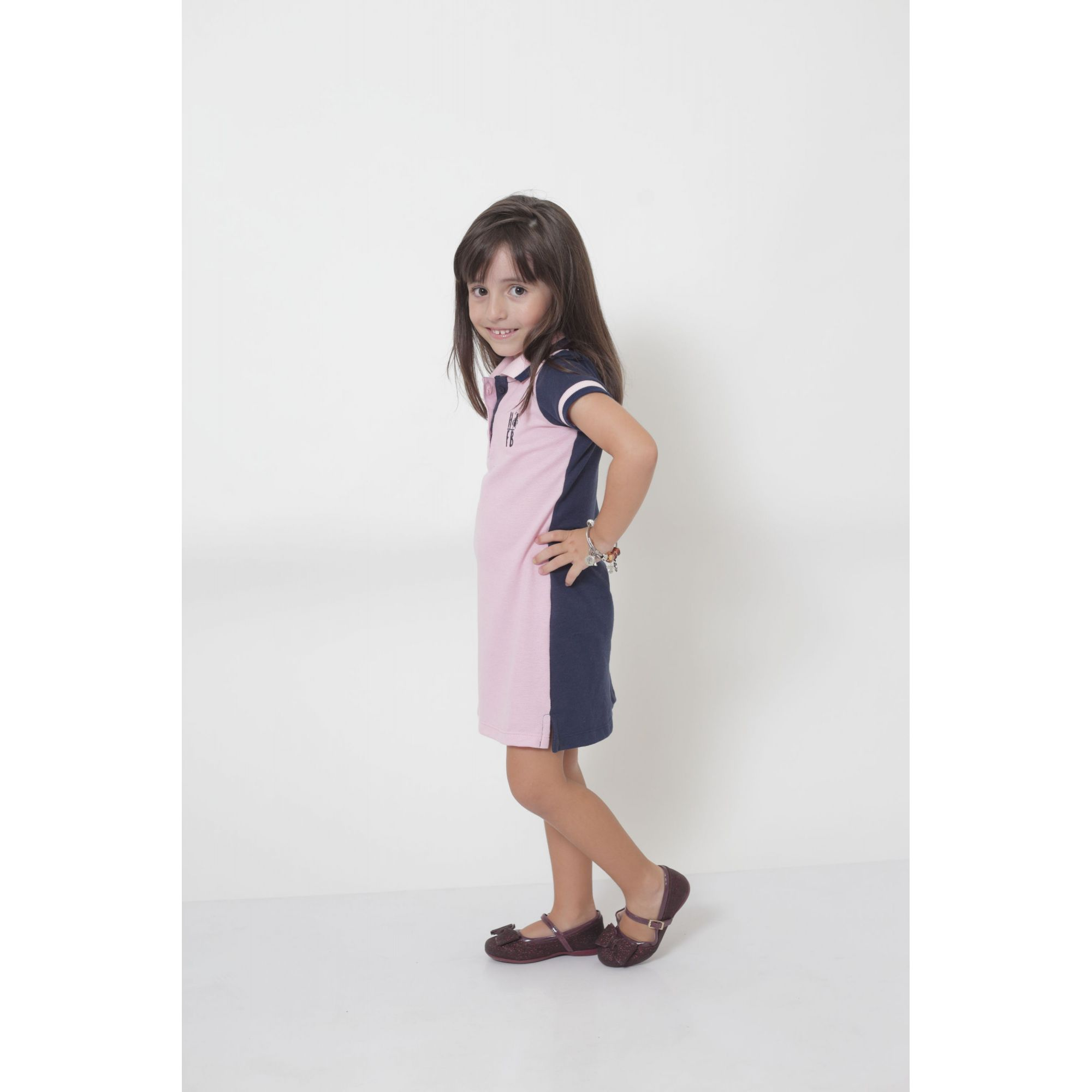 Vestido Polo Infantil Dual Cor Rosa e Marinho  - Heitor Fashion Brazil