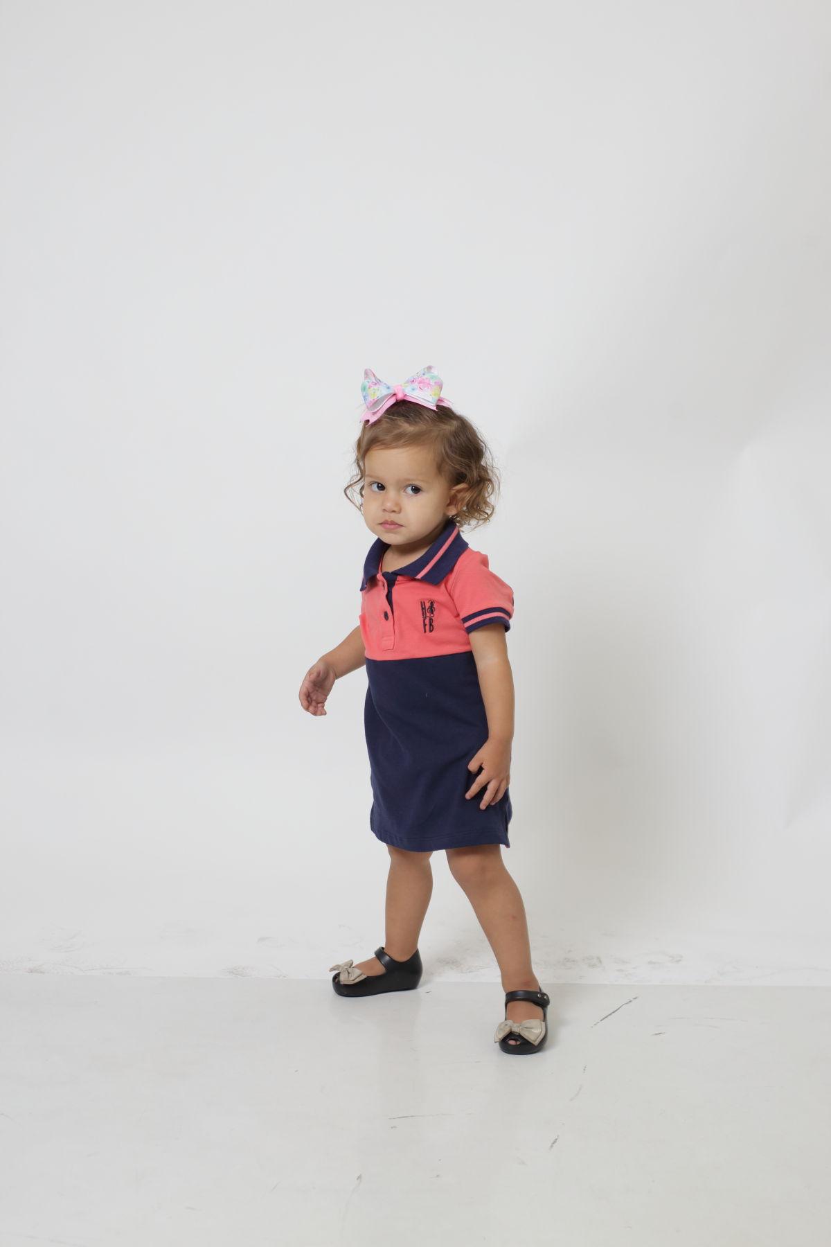 Vestido Polo Infantil Goiaba com Marinho PREMIUM