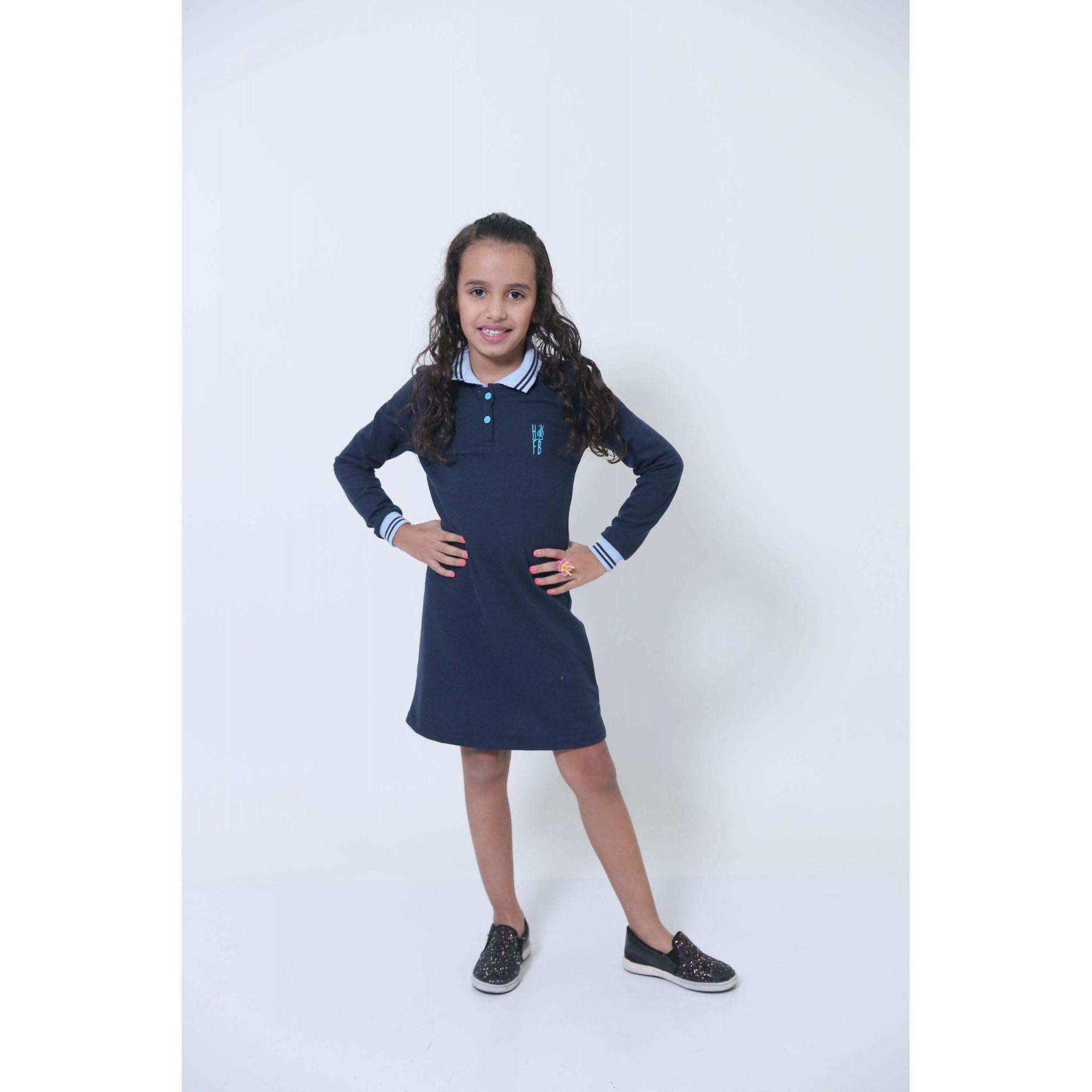 Vestido Polo Infantil Manga Longa Azul