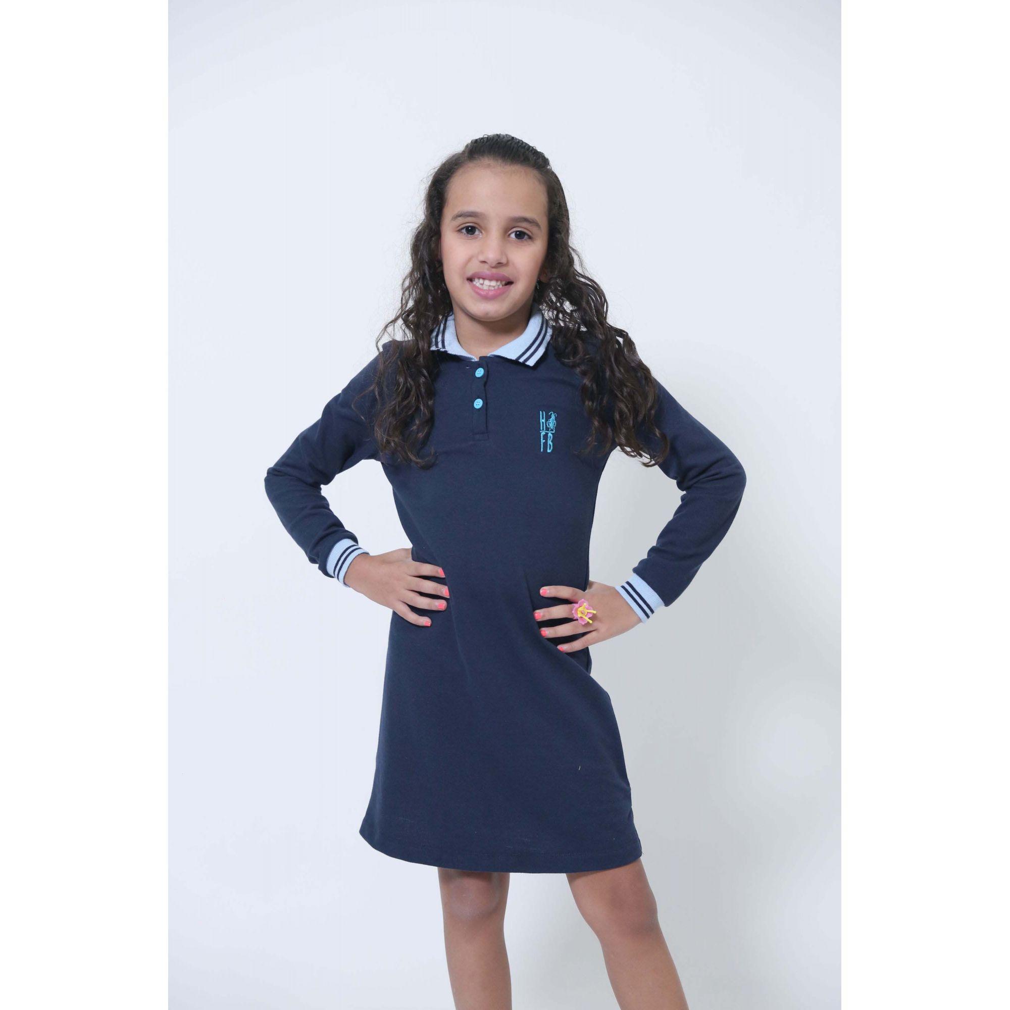 Vestido Polo Infantil Manga Longa Azul  - Heitor Fashion Brazil