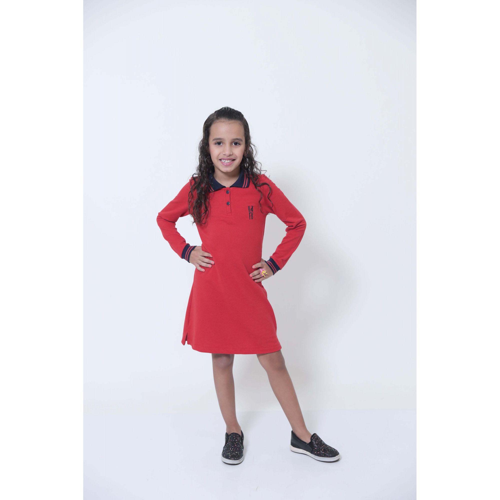 Vestido Polo Infantil Manga Longa Vermelho