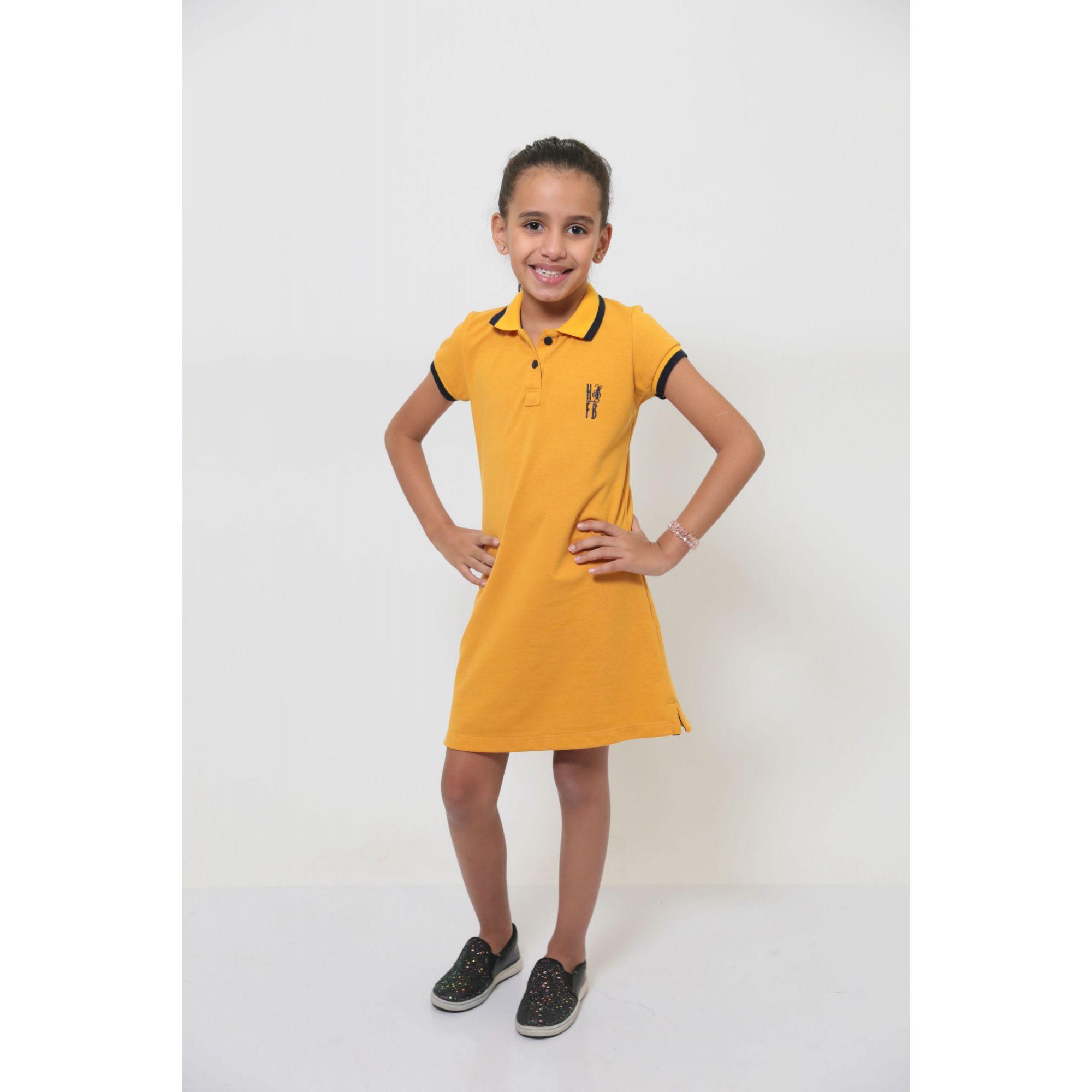 Vestido Polo Infantil Mostarda  - Heitor Fashion Brazil