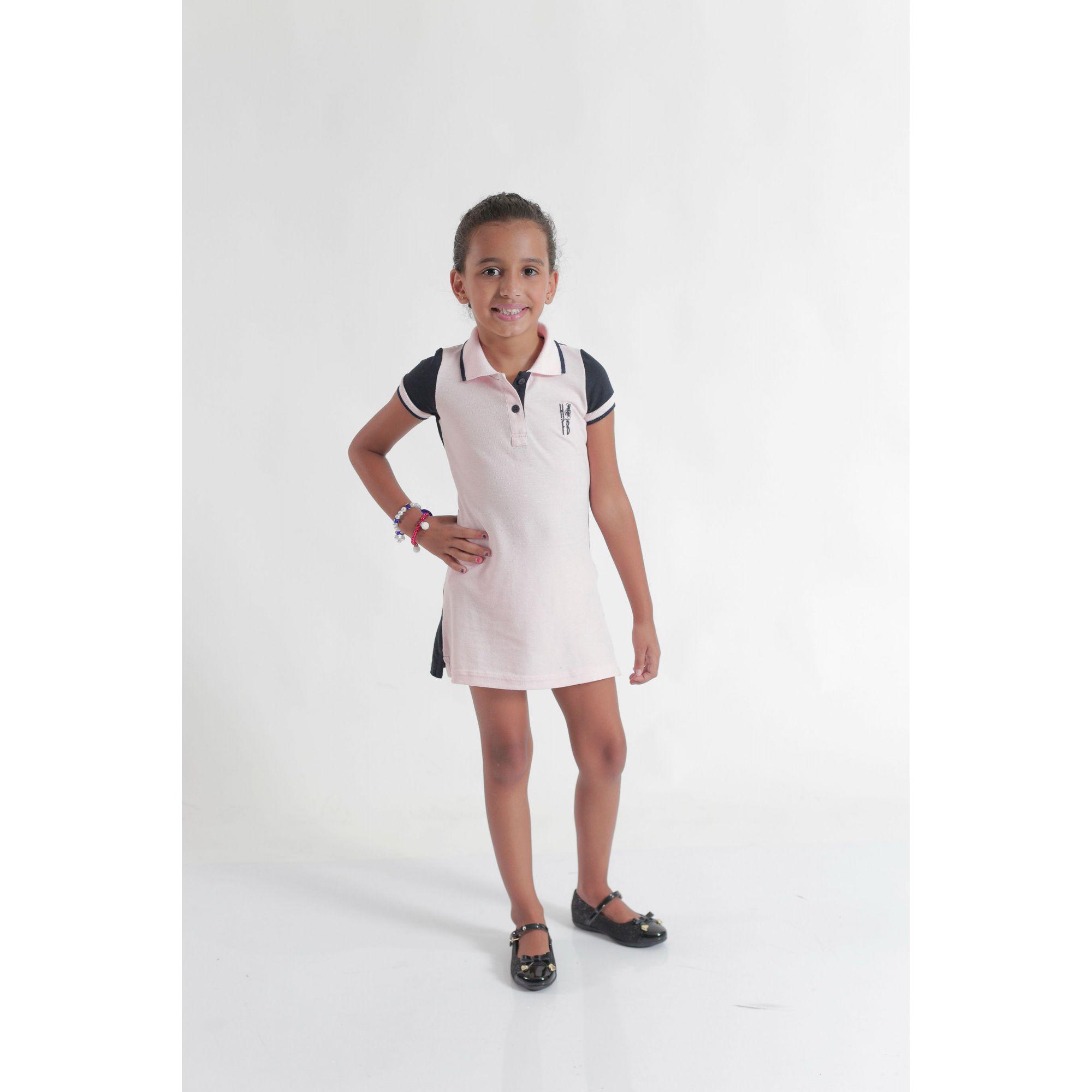 Vestido Polo Infantil Rosa com Azul Marinho  - Heitor Fashion Brazil