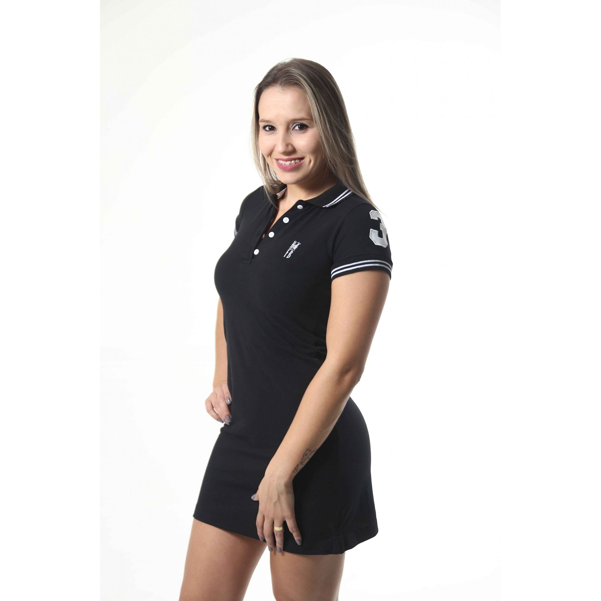 Vestido Polo Preto Elegância  - Heitor Fashion Brazil