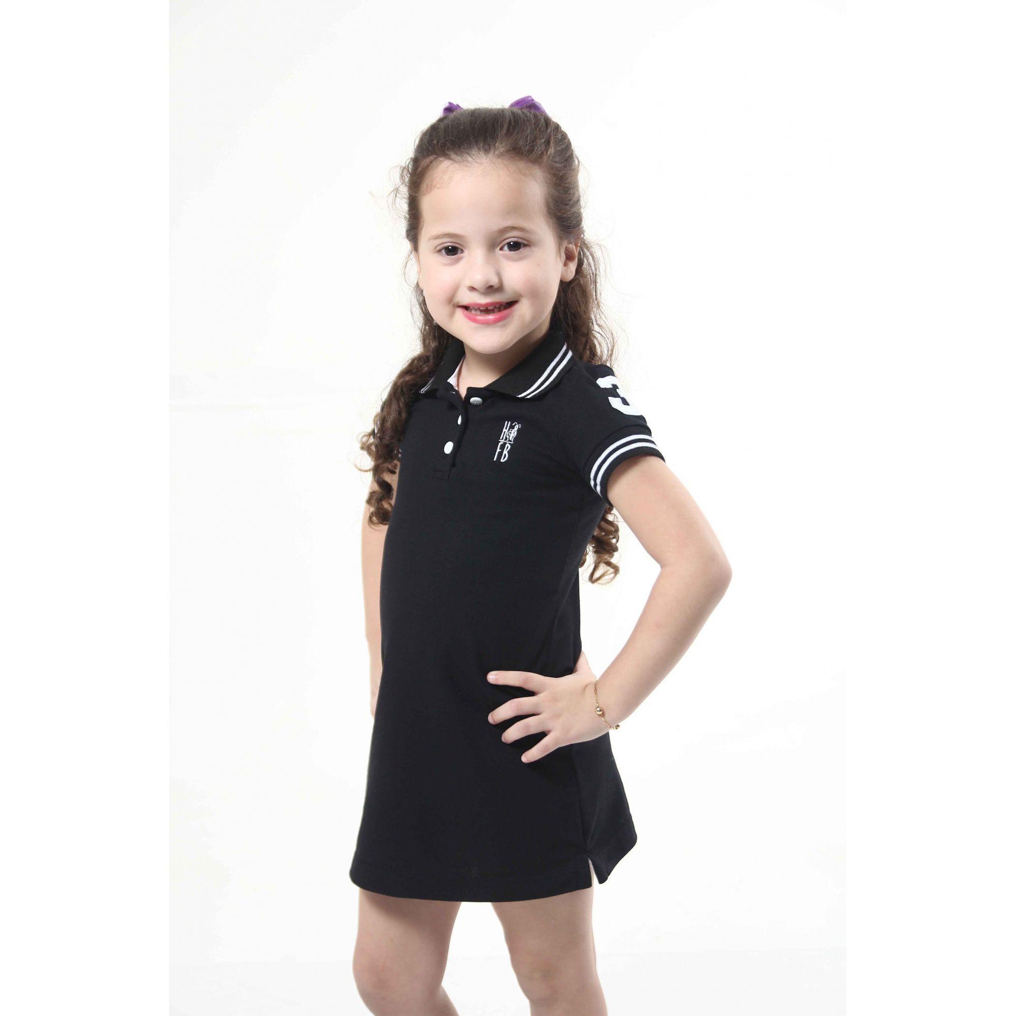 Vestido Polo Preto Elegância Infantil  - Heitor Fashion Brazil