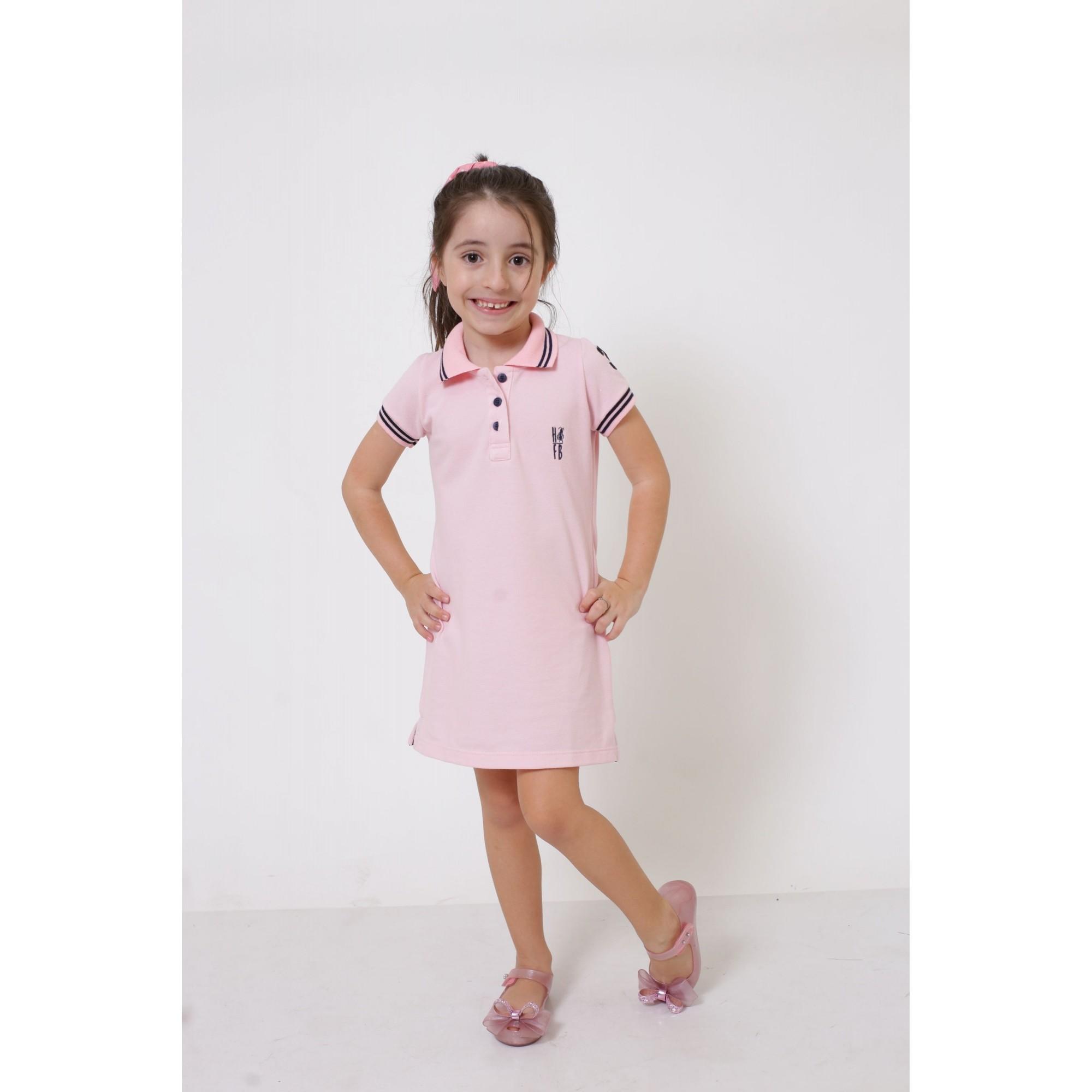 Vestido Polo Rosa Amor Infantil  - Heitor Fashion Brazil