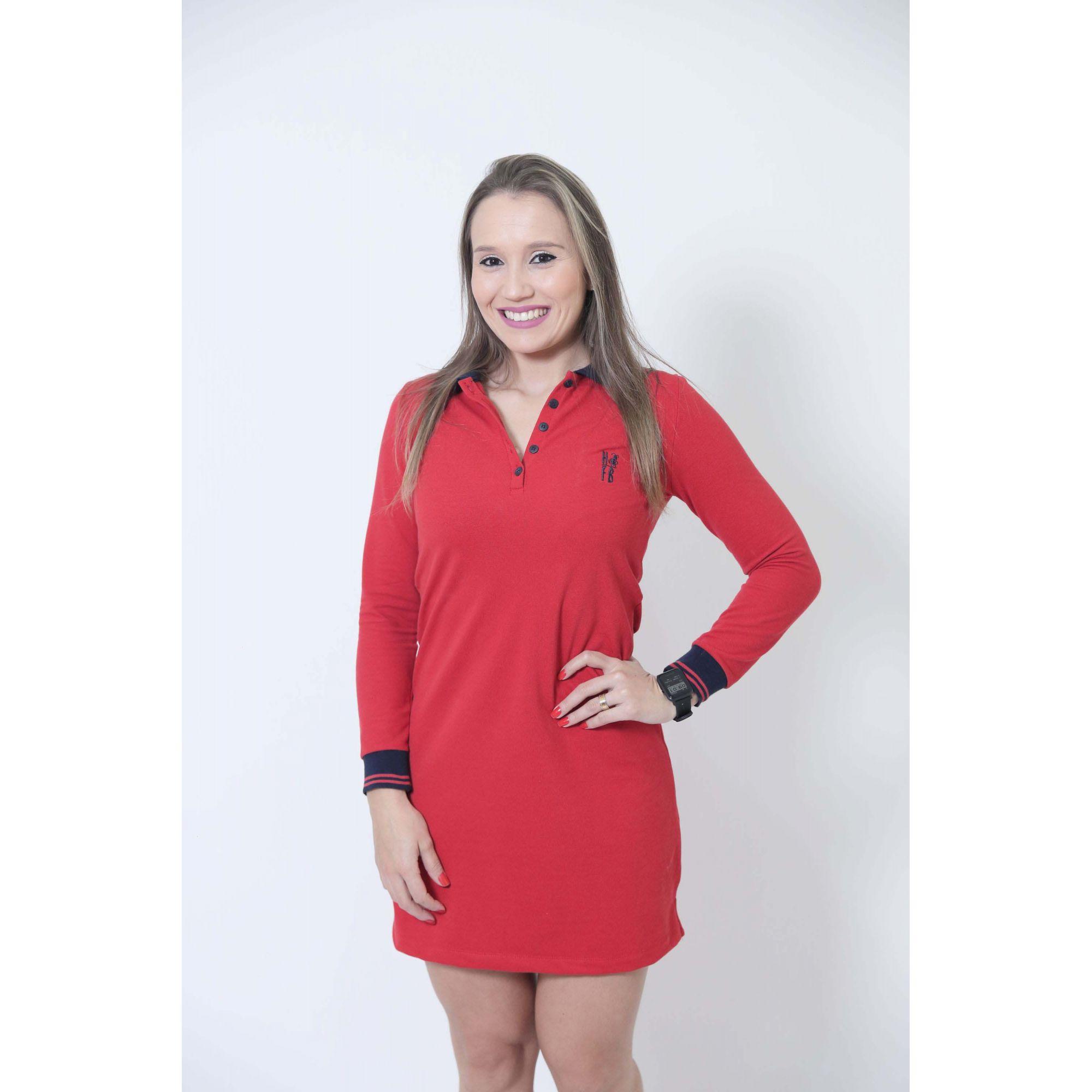 Vestido Polo Vermelho Manga Longa