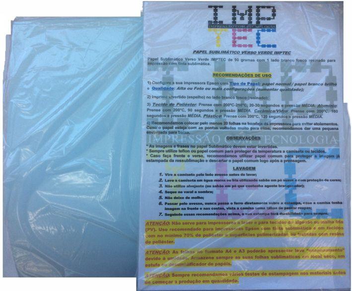 Papel Sublimático IMPTEC 90G 100 Folhas A4