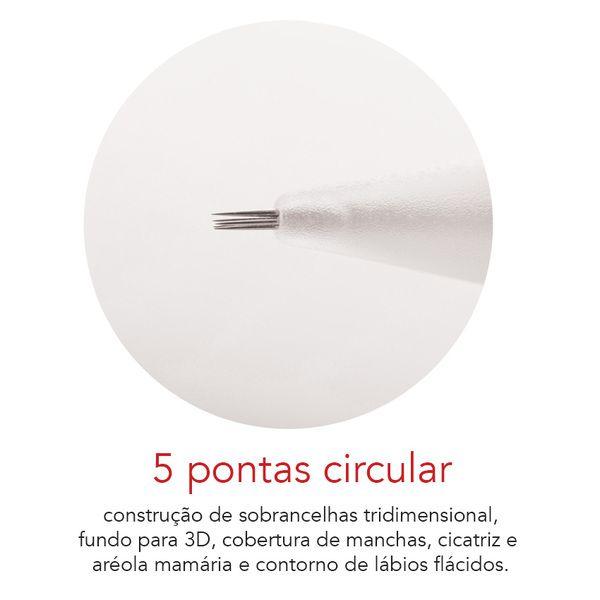 Agulha Rosca Dermomag Pen e Junior - 5 pontas CIRCULAR  - Tebori Nordeste