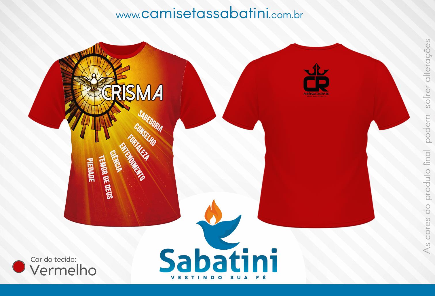 Camiseta Personalizada - CRISMA - PARÓQUIA CRISTO REI -  ANGRA DOS REIS - RJ - ID:15461920  - Camisetas Sabatini