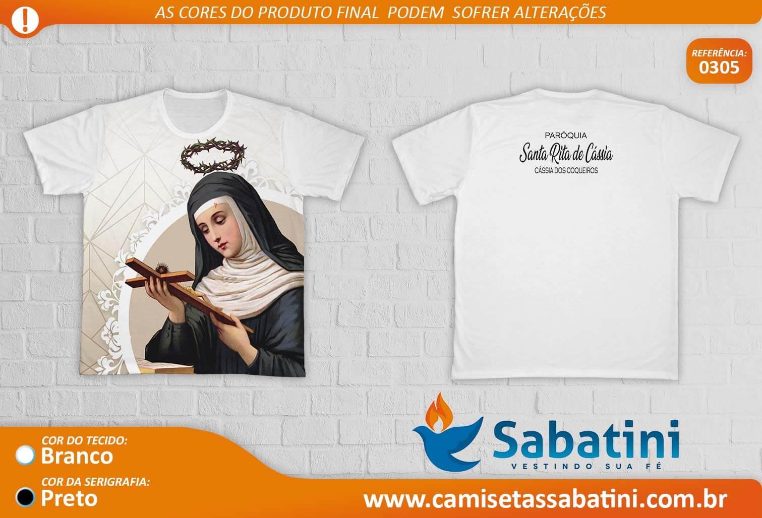Camiseta Personalizada - FESTEIROS -BRANCA - PARÓQUIA SANTA RITA DE CÁSSIA - CÁSSIA DOS COQUEIROS - SP - ID:15335255  - Camisetas Sabatini