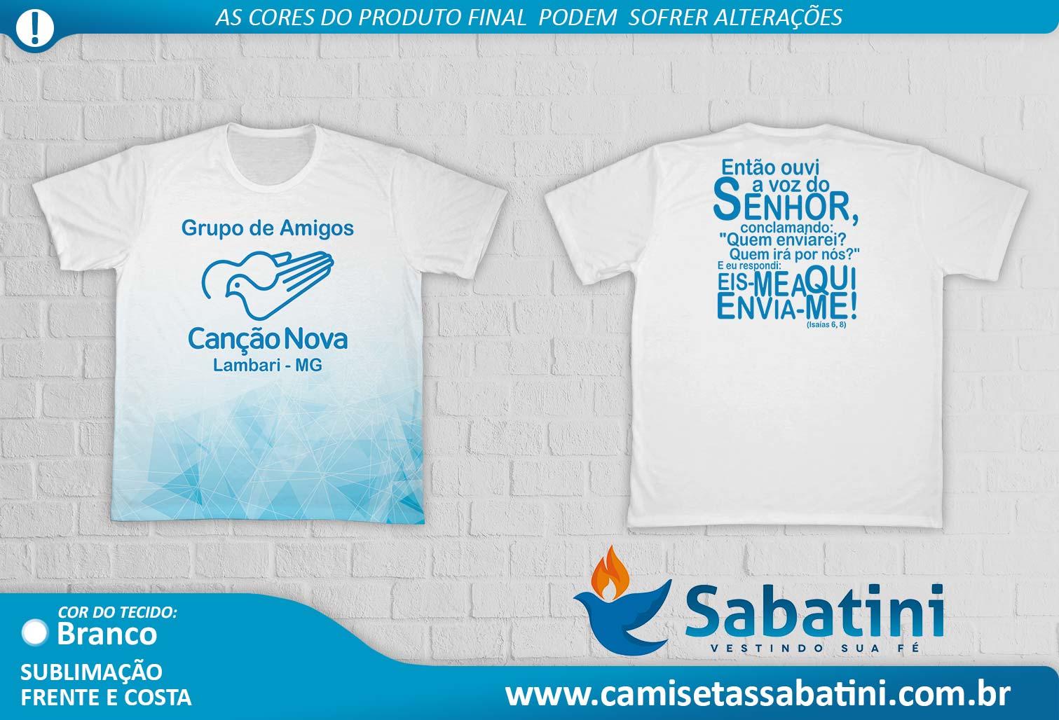 Camiseta Personalizada - GRUPO DE AMIGOS CANÇÃO NOVA- DEBORAH\MG\LAMBARI- ID15170129  - Camisetas Sabatini