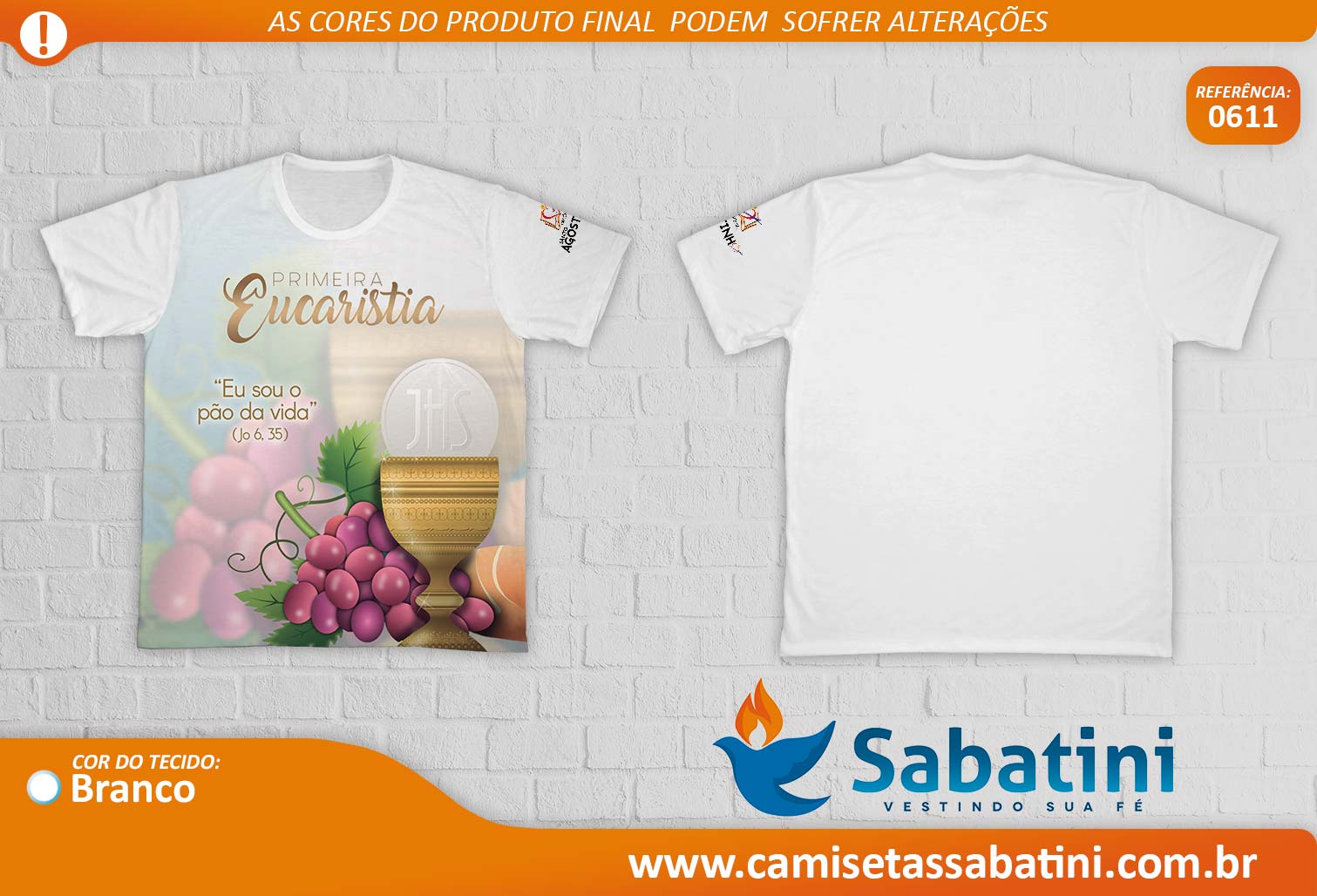 Camiseta Personalizada - REF.0611 - Primeira Eucaristia - Paróquia Santo Agostinho - ID15138478  - Camisetas Sabatini