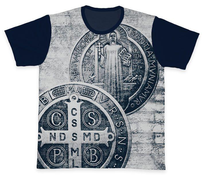 Camiseta REF.0212 - A Cruz Sagrada - São Bento  - Camisetas Sabatini