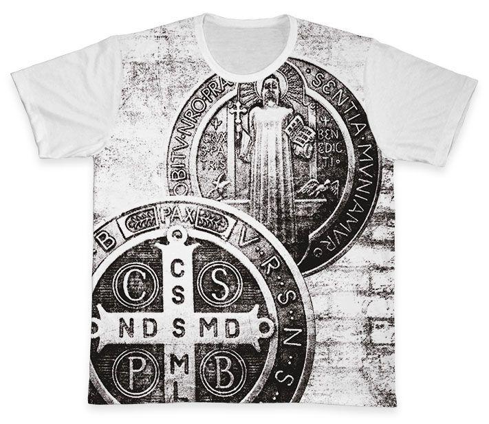 Camiseta REF.0224 - A Cruz Sagrada - São Bento  - Camisetas Sabatini