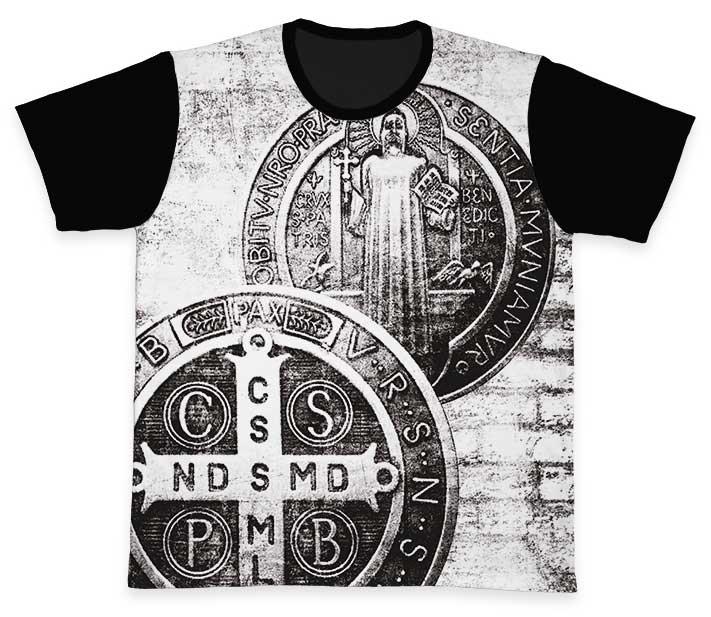 Camiseta Ref. 0225 - A Cruz Sagrada - São Bento