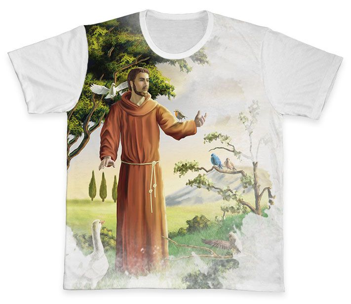 Camiseta REF.0258 - São Francisco de Assis  - Camisetas Sabatini