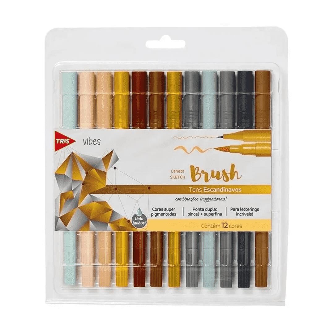 Caneta Brush 12 cores Escandinavos