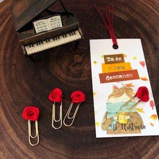 clips de tecido feito à mão (mini-rosa vermelha)   -  Fé Ilustrada