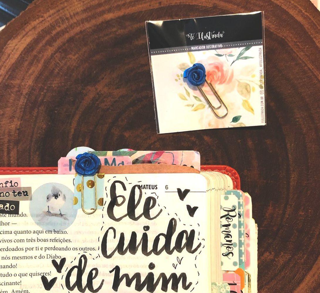 clips de tecido feito à mão (mini-rosa azul)   -  Fé Ilustrada