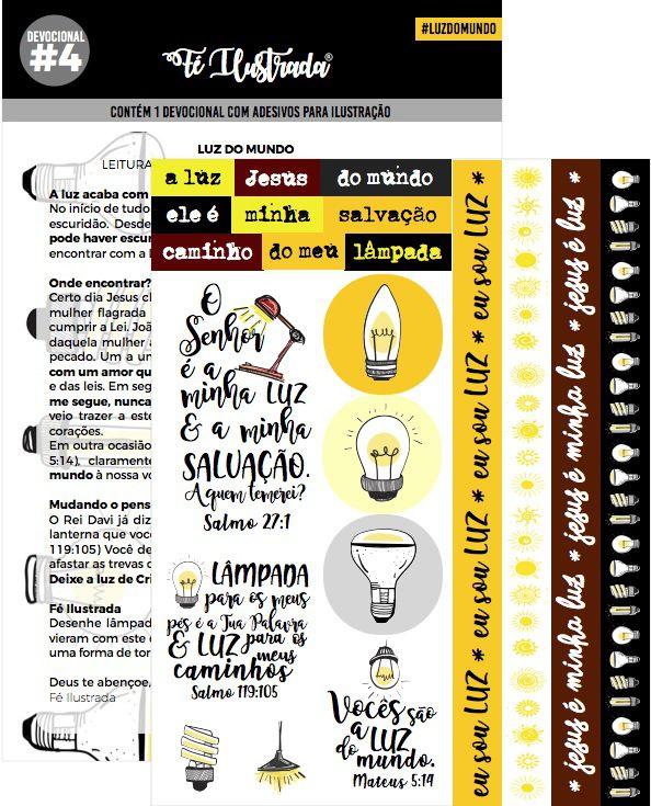 kit com 1 conjunto de abas da bíblia + 5 devocionais com cartela adesiva  -  Fé Ilustrada