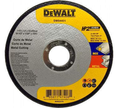 "Disco De Corte 4.1/2"" X 1,0mm Hp2 Dewalt Dw84401"