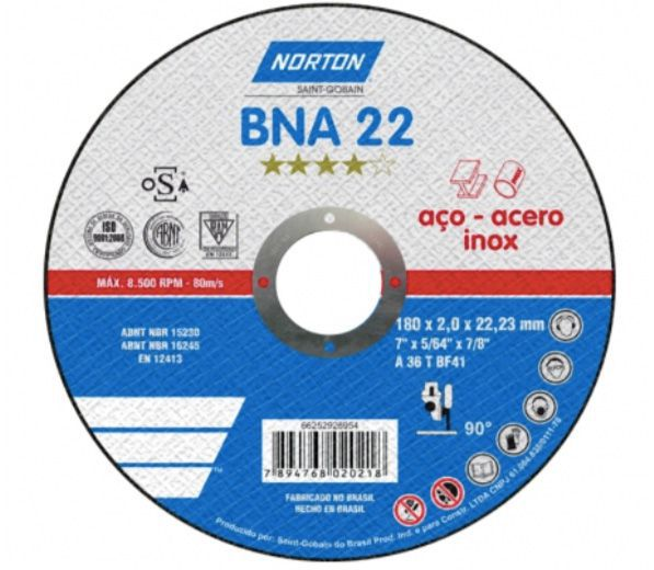 "Disco De Corte 4.1/2"" X 1mm Bna12 Norton"