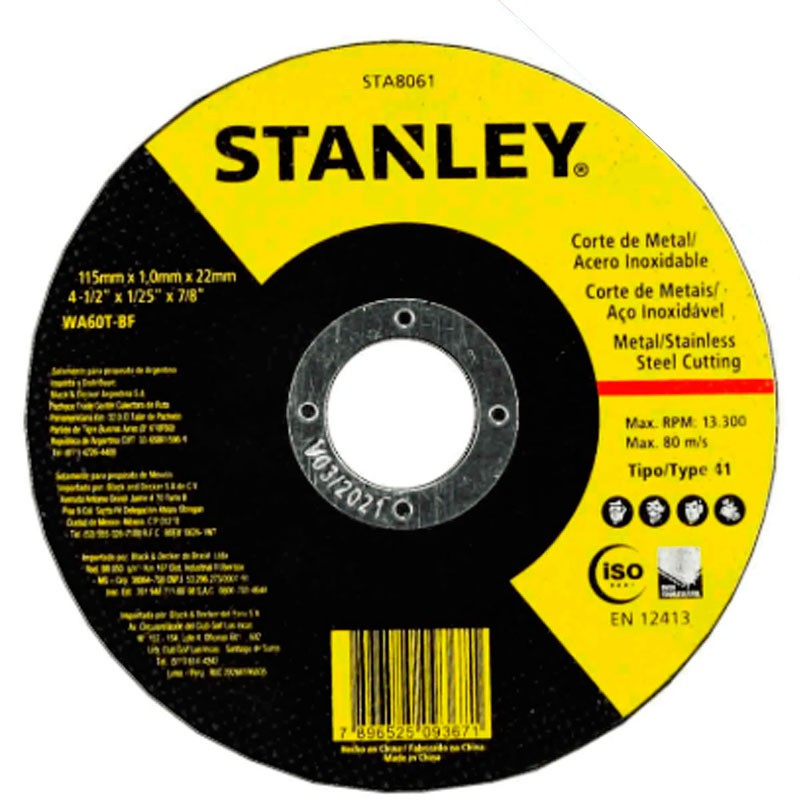 """Disco De Corte 4.1/2"""" X 1mm Inox - Sta8061 - Stanley"""