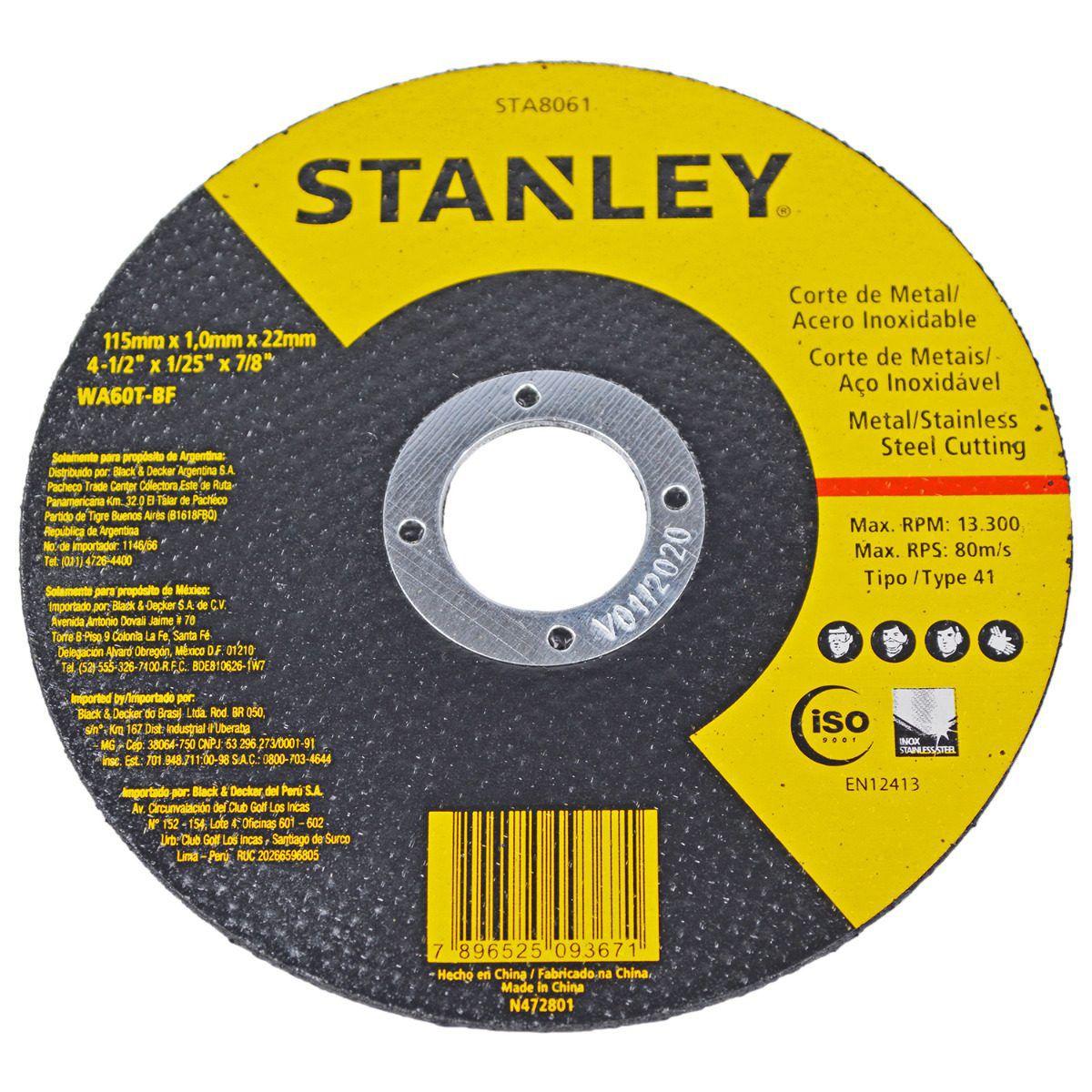 DISCO DE CORTE 4.1/2 X 1MM STANLEY INOX - STA8061