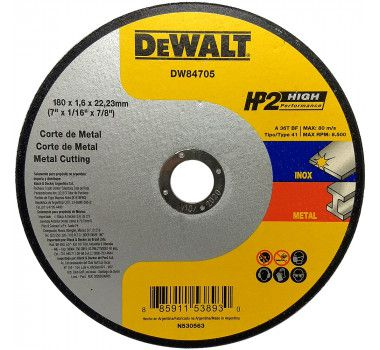 "Disco De Corte 7"" X 1,6mm Hp2 Dewalt Dw84705"