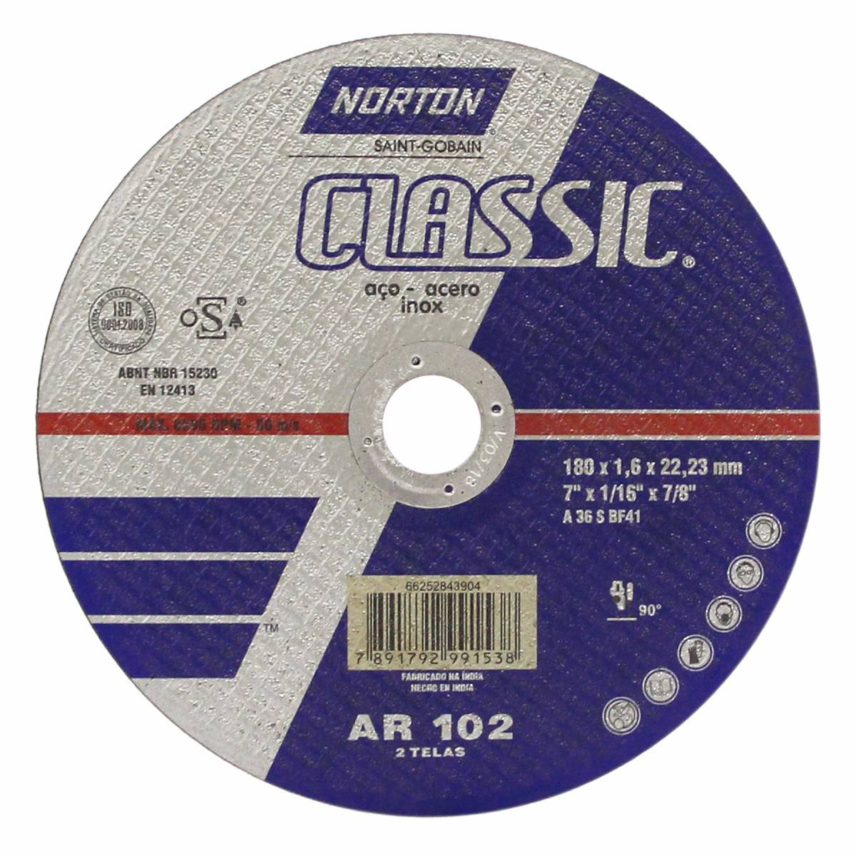 DISCO DE CORTE 7 X 1.6MM CLASSIC NORTON