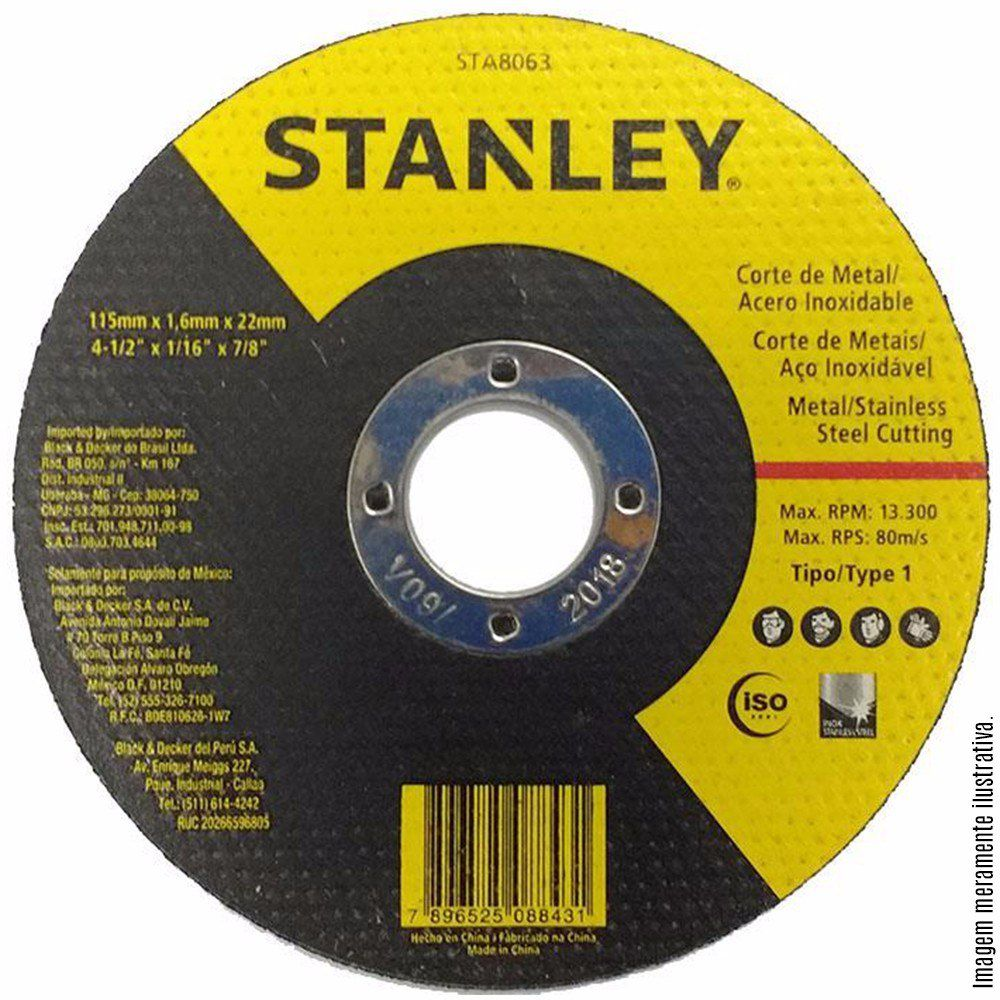 DISCO DE CORTE 7 X 1.6MM X 7/8 STANLEY INOX - STA8067